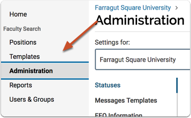 Navigate to the Administration page