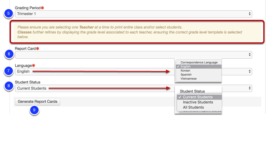 by default the current grading period will be selected click to change to a different grading period if needed