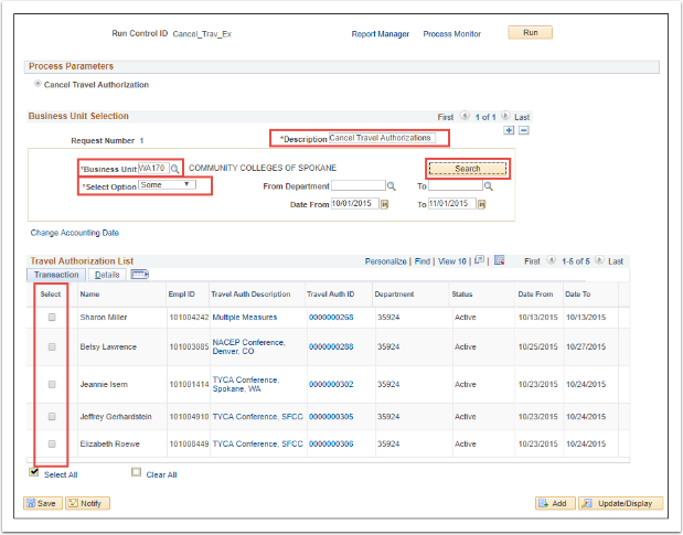 Process Parameters page