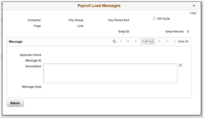 Payroll Load Messages page, message example