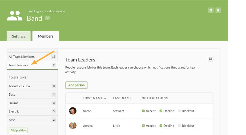 Edit Team Leaders