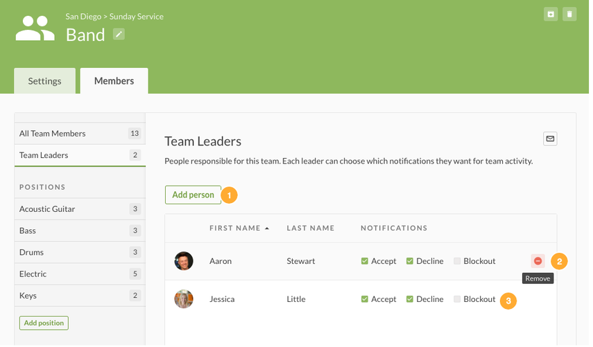Assign Team Leaders & Set Notification Options