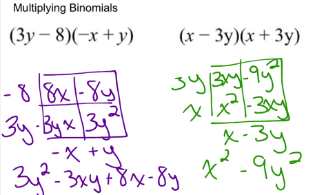 Multiplying a binomial with a binomial: