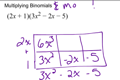 Multiplying a binomial with a trinomial: