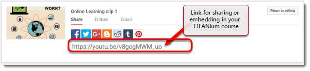 youtube url for your video is selected.