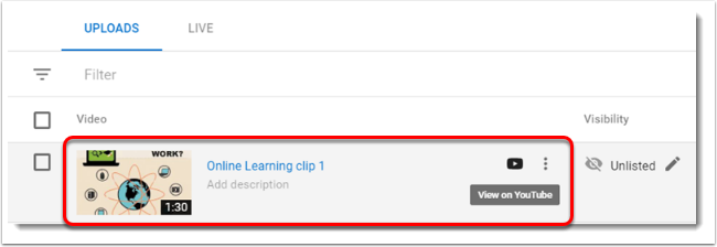 Online Learning clip 1 is selected.