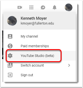 YouTube Studio is selected.