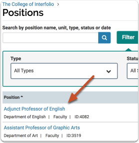 To access the applications for a position, click the position title