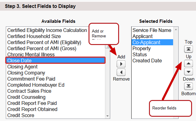 3. Edit the fields you want to show up as Columns in your new List View