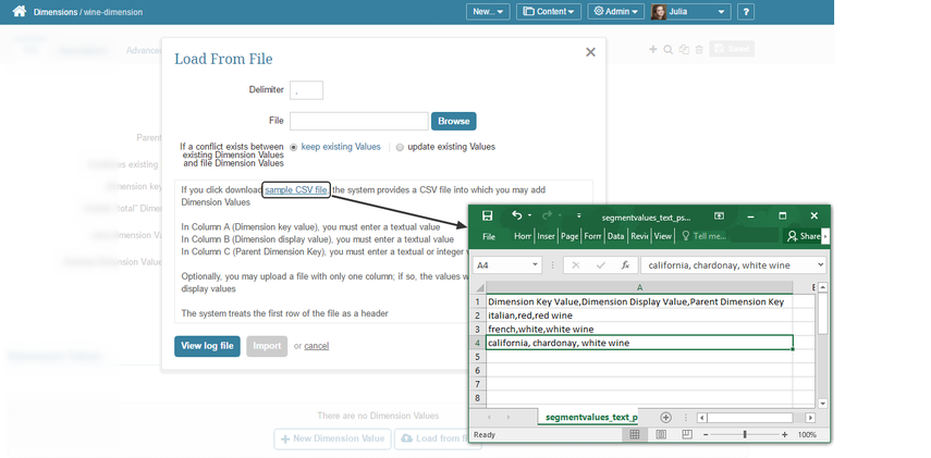 To add using a CSV file, you must add at least one dimension manually for' Load from File' button to appear