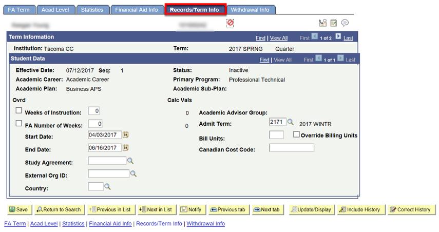 records term info tab