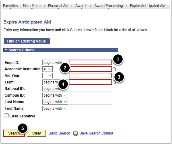 Expire Anticipated Aid Search Page