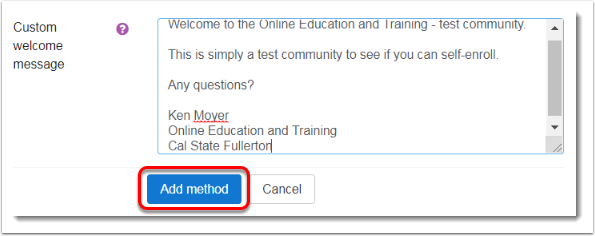 Add method button is selected.
