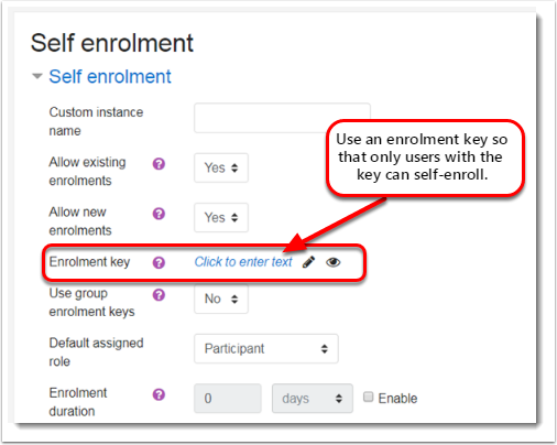 Self enrolment settings page
