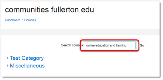 Search Courses field is selected.