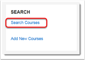 Search Courses link is selected.