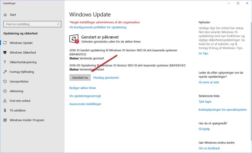 Installerer opdateringer