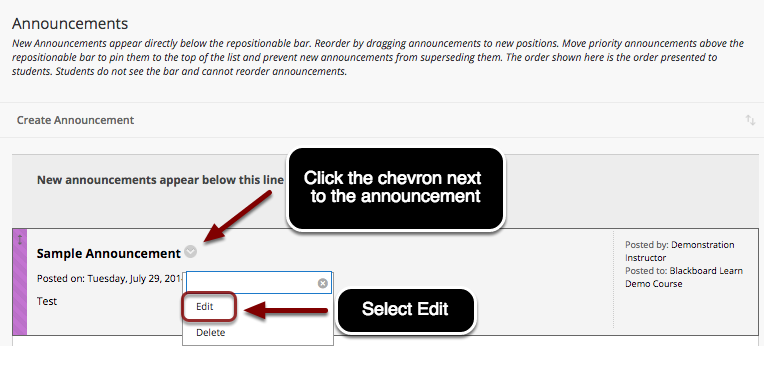 Image of the Announcements screen with an arrow pointing to the chevron button next to the announcment with instructions to click on the chevron.  A menu is shown on screen with Edit outlined with a red circle with instructions to select Edit.