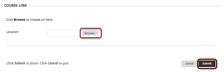 Image of Section 3 Course link with the Browse button outlined with a red circle, and the submit button at the bottom right corner.