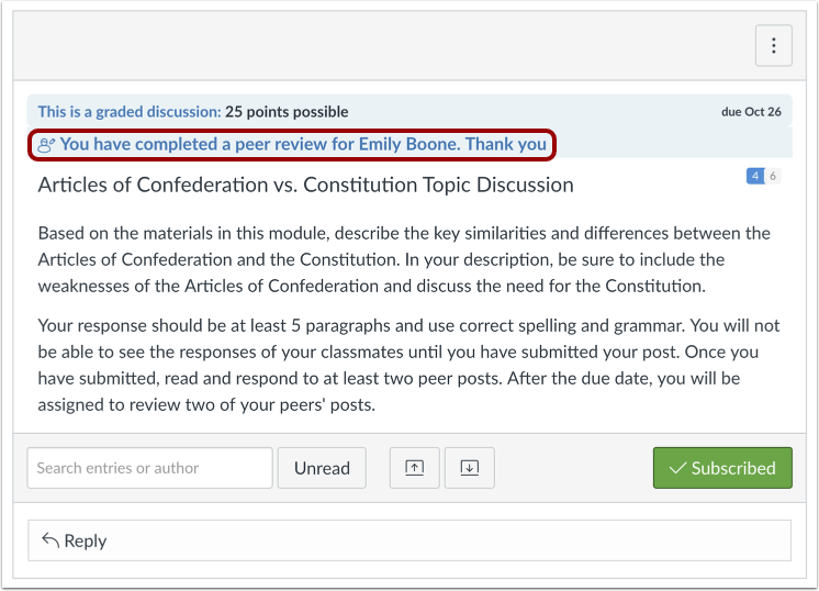Confirm Completed Peer Review