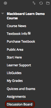 Image of the Blackboard Course Menu with Discussion Board outlined with a red circle.