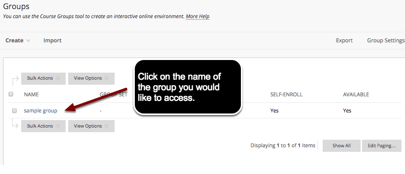 Image of the Groups page with an arrow pointing to a group name with instructions to click on the name of the group you would like to access.
