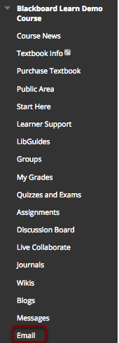 Image of the course menu with the Email link highlighted with a red circle.