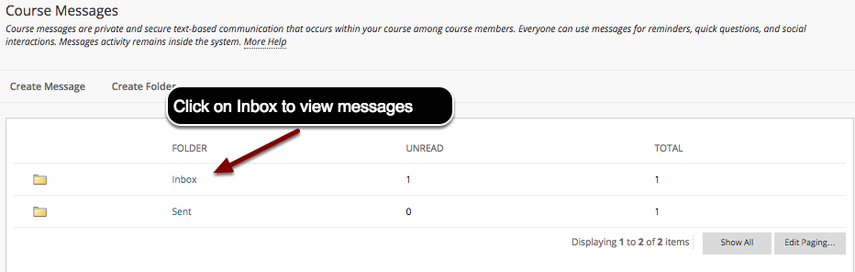 Image of the Course Messages screen with an arrow pointing to Inbox, with instructions to click on Inbox.