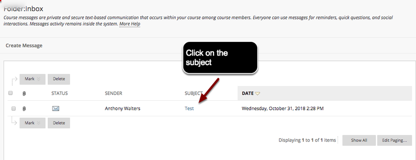 Image of the inbox with an arrow pointing to a message subject with instructions to click on the subject.