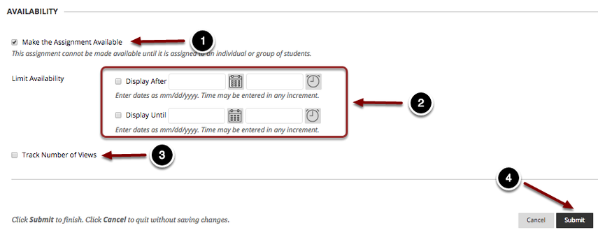 Image of the Availability section showing the following annotations: 1.Make the Assignment Available: Check this box to make the assignment visible to students.2.Limit Availability: Check the boxes and use the date and time selectors to limit the availability of the dropbox.3.Track Number of Views: Check this box to enable statistics tracking on the item.4.When finished, click the Submit button to create the assignment.
