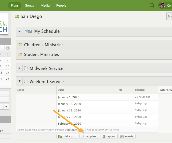 Templates Button for a Service Type