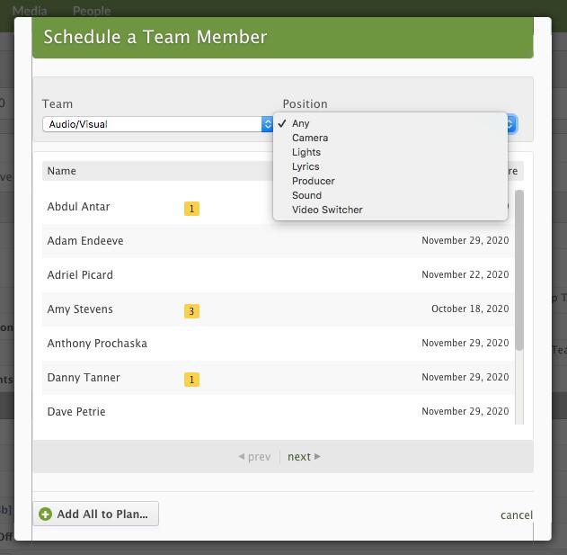 Schedule Team Member Modal