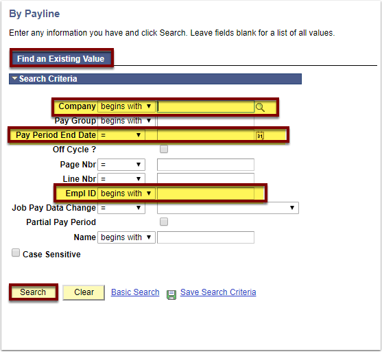 Find an Existing Value tab on By Payline page