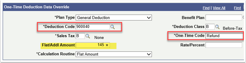 One Time Deduction Data Override section