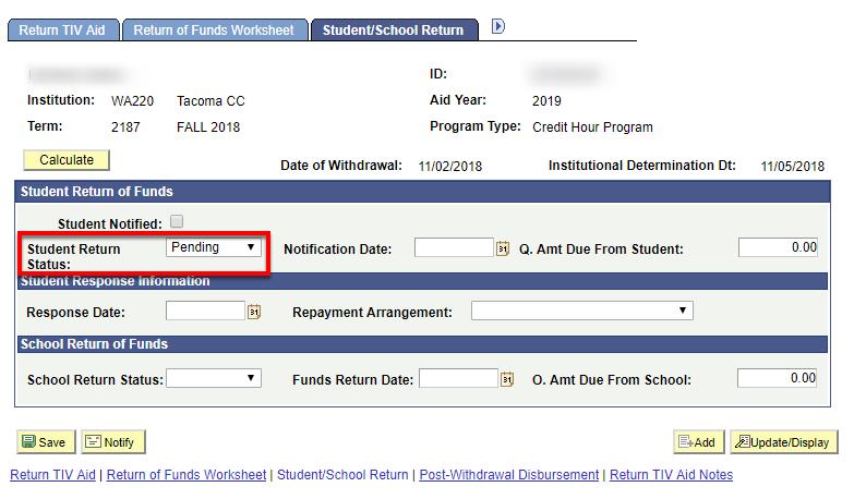 Student Return Status
