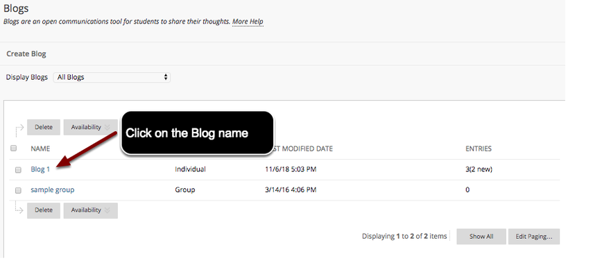 Image of the Blogs page with an arrow pointing to a blog name with instructions to click on the blog name.
