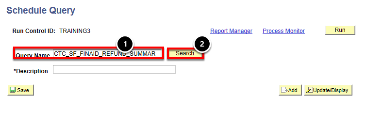 schedule query name and search