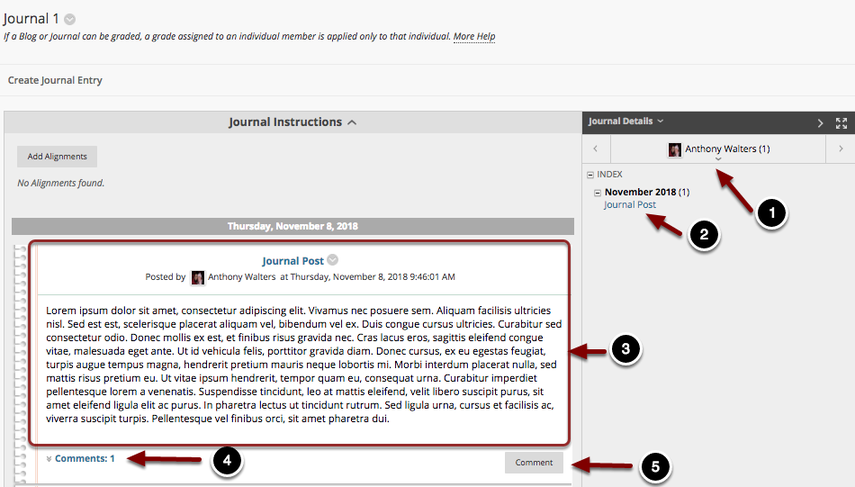 Image of a journal with the following annotations:  You will now see a screen similar to the one above with the title of the journal appearing at the top.1.Click on the drop down menu on the right portion of the screen to access journals from other students.2.Index: Use the index to select the desired journal entry to view.3.The journal entries will appear on the left portion of the screen.4.To view existing comments on the journal entry, click on the number of comments listed in the bottom left corner of the journal entry.5.To comment on a journal entry, click the Comment button at the bottom of the journal entry.