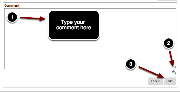 Image of the comment box with the following annotations: 1.Comment: Type your comment in the textbox provided.2.Click on the Spell Check button (the icon with abc and a green checkmark) to check for spelling and grammar issues.3.When finished, click the Add button to publish the comment. The comment will then be added to the blog entry.