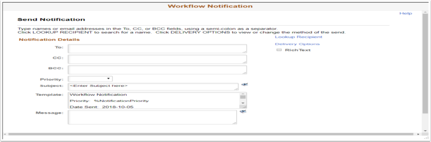 Workflow Notification page
