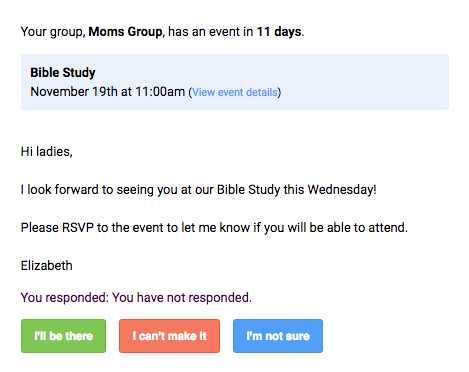 RSVP email
