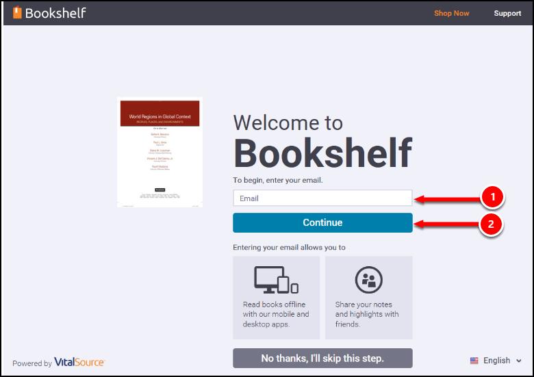 CSUF VitalSource Bookshelf Login Screen