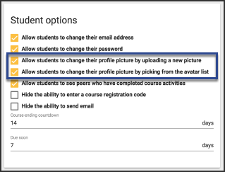 image showing student options checked