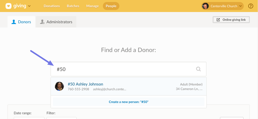 Search by donor number