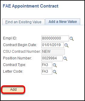 Add a new value screen