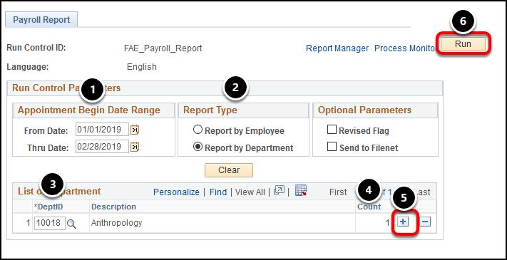 Payroll Report settings