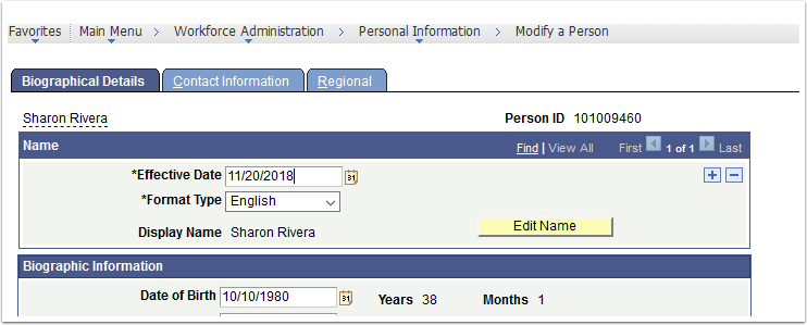 Biographical Details tab