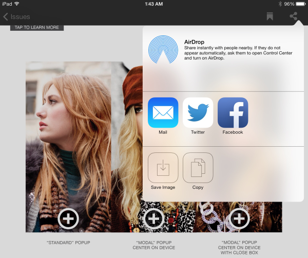 Tap the Sharing icon to view the Sharing menu.