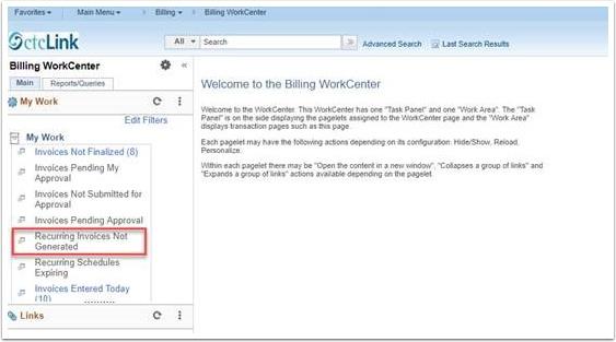 Billing WorkCenter page