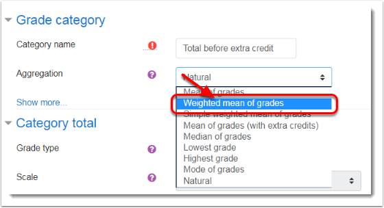 Weighted mean of grades is selected.
